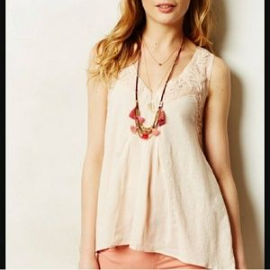 Anthropologie Meadow Rue Pink Embroidered Tank S